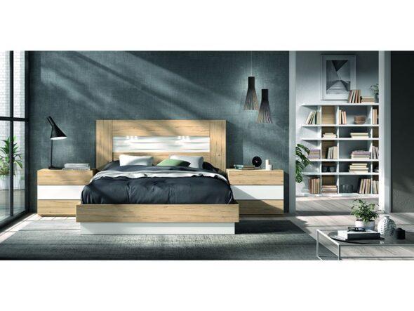 Dormitorio bicolor con estantería modelo Cosmos 023