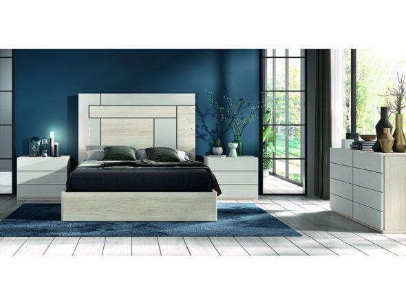 Dormitorio de matrimonio blanco con canapé modelo Cosmos 026
