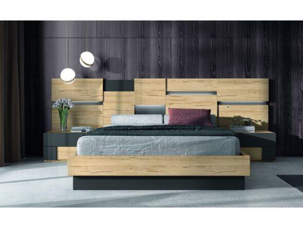 Conjunto dormitorio de matrimonio bicolor con cabezal original modelo Cosmos 033
