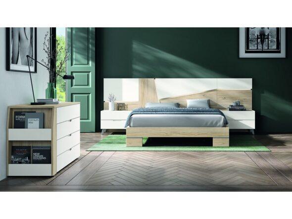 Dormitorio matrimonio blanco con cabezal modelo Cosmos 036