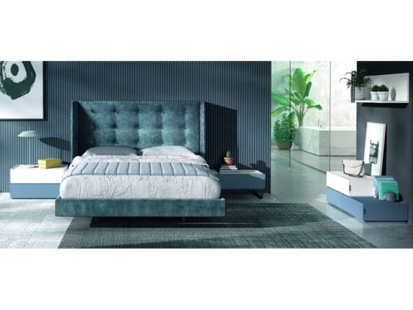 Composición dormitorio cama tapizada modelo Cosmos 039