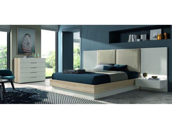 Composición dormitorio de matrimonio con cabezal tapizado en blanco modelo Cosmos 040