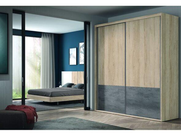 Armario de matrimonio tonos madera y 2 puertas correderas modelo Cosmos 081