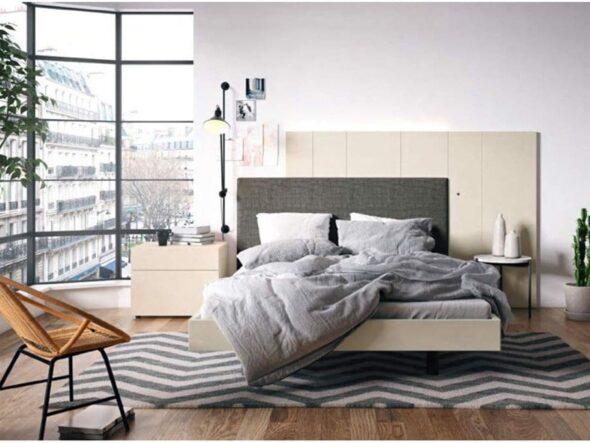Dormitorio en beige tapizado