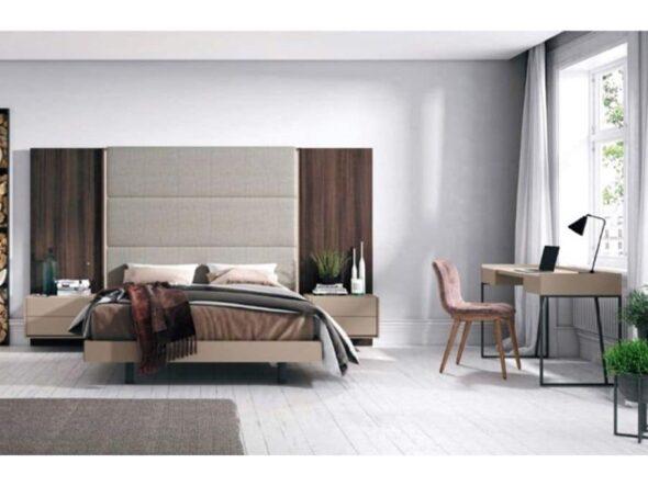 Dormitorio con cabezal tapizado torga