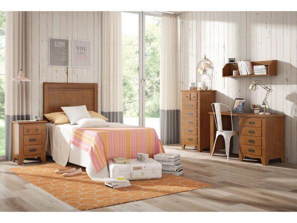Dormitorio juvevenil Indufex Ocean en color nogal