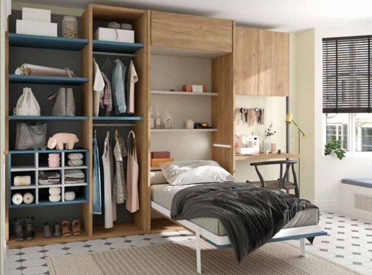 Dormitorio con cama abatible S54