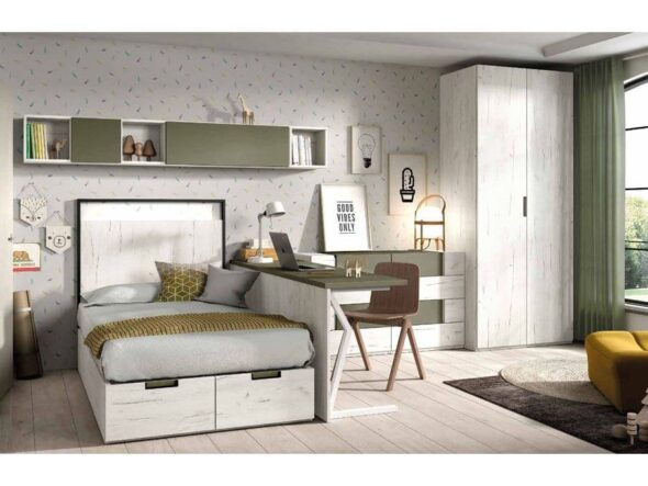dormitorio con cama compacta baja S60