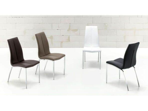 silla modelo MÍA PU - patas cromadas